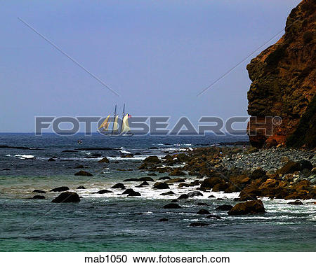 Stock Photography of Sailboat in the distance as seen at Dana.