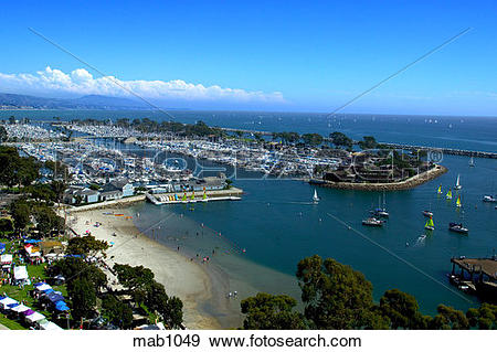 Stock Photograph of Daytime aerial view of Dana Point Harbor, CA.