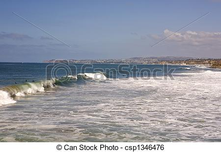 Stock Image of San Clemente Waves with Dana Point in the.