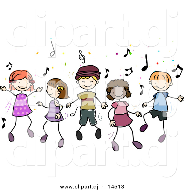 Vector Clipart Of Cartoon Doodled Kids Dancing To Music.