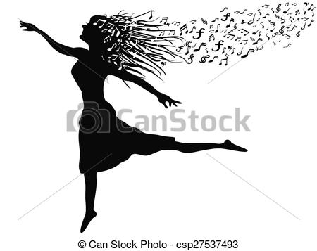 woman dancing with music note.