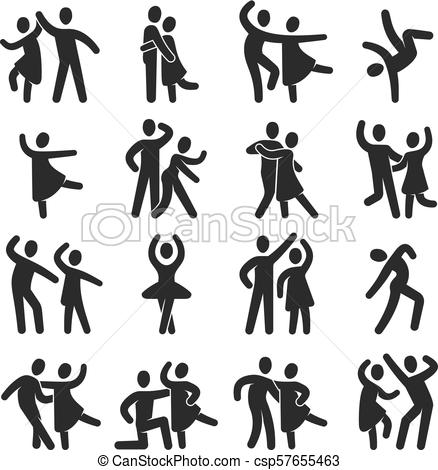 Happy dancing people icons. Modern dance class vector silhouette symbols.