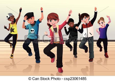 Kids in hip hop dance class.