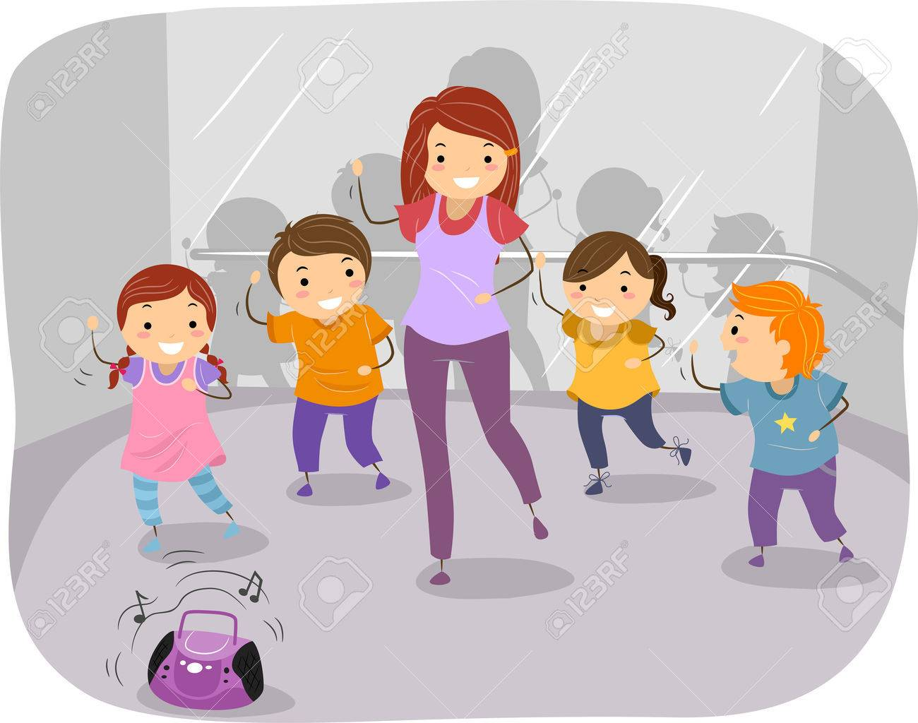Illustration of Kids in a Dancing Class.