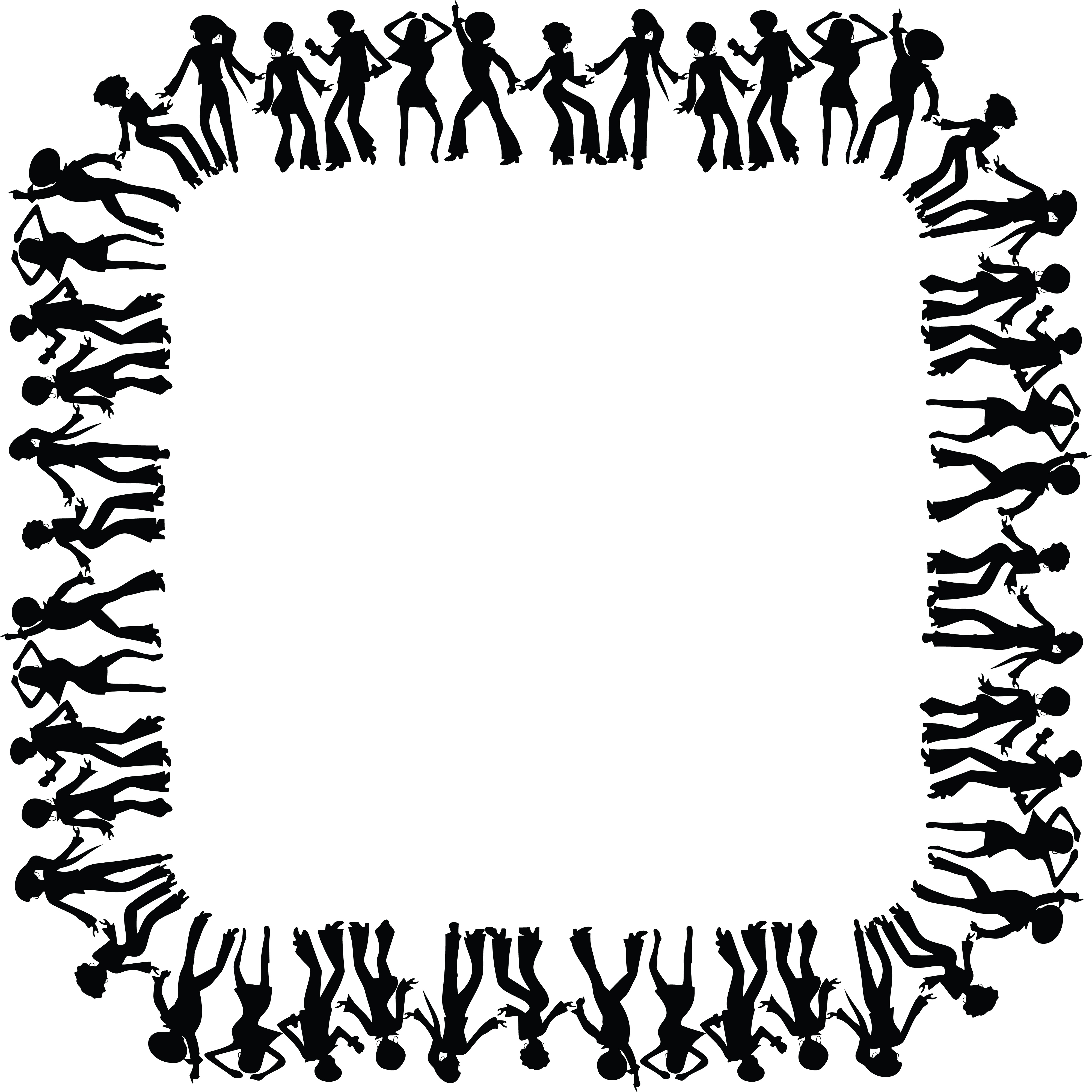 Free Clipart of a square black and white border frame of disco dancers.