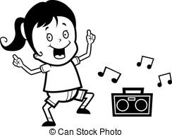 Kids Dance Black And White Clipart.