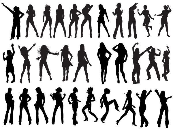 200+ Free Vector Dancing Girls Silhouettes.