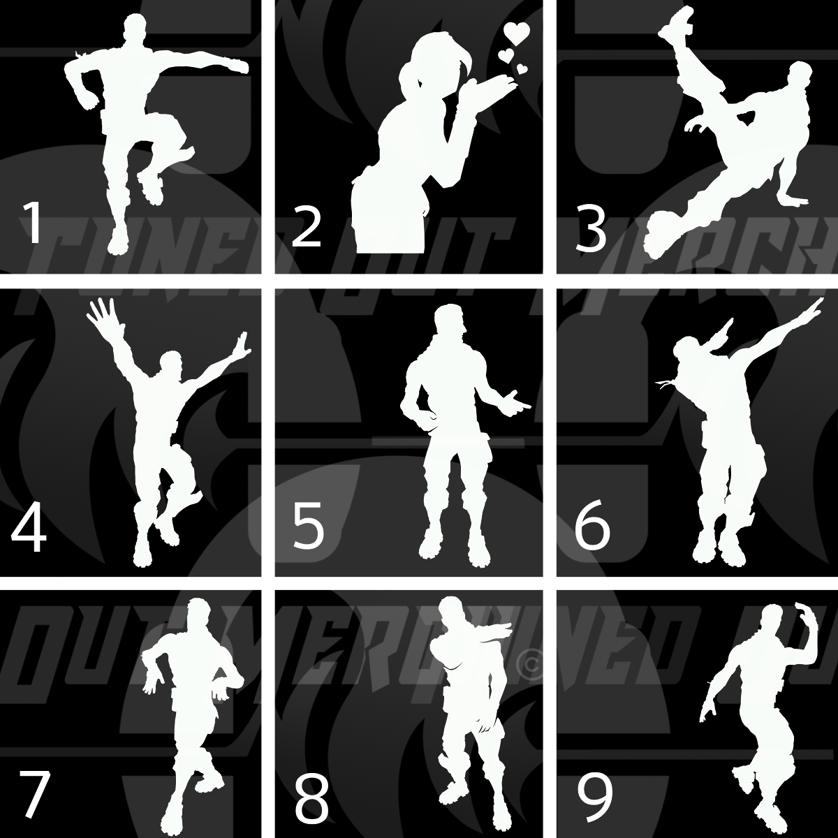 Image result for fortnite dance moves silhouettes.