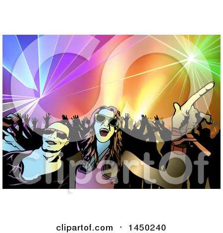 Clipart Graphic of a Couple in Front of a Crowded Dance Floor of.