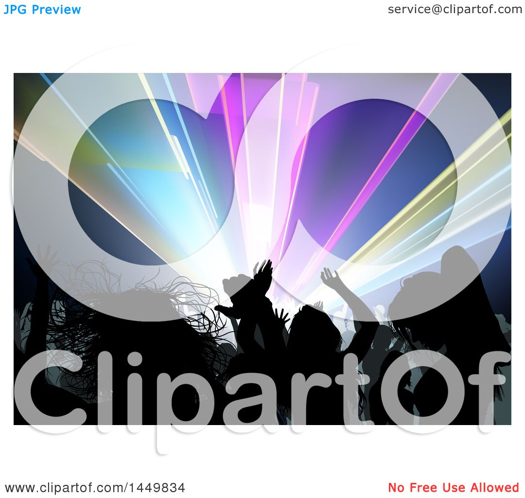 Clipart Graphic of a Crowded Dance Floor of Silhouetted People.