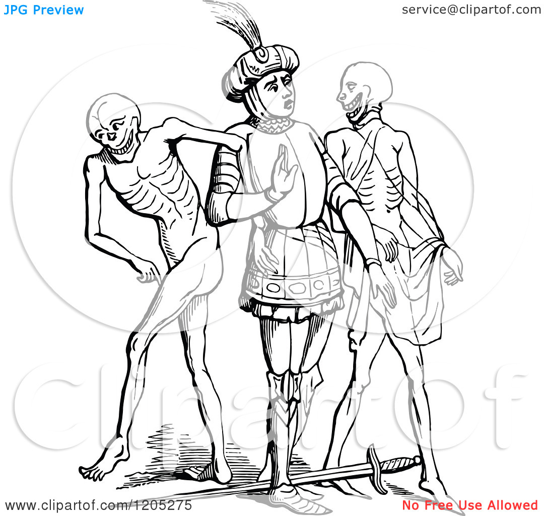Clipart of a Vintage Black and White Knight in the Dance of Death.