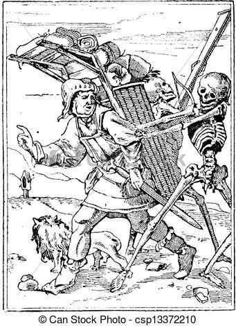 Vector Clip Art of Dance of Death, vintage engraving.