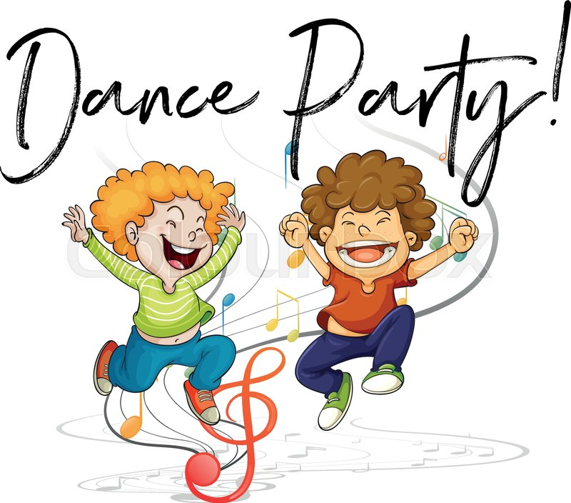Two boys dancing and words dance party.