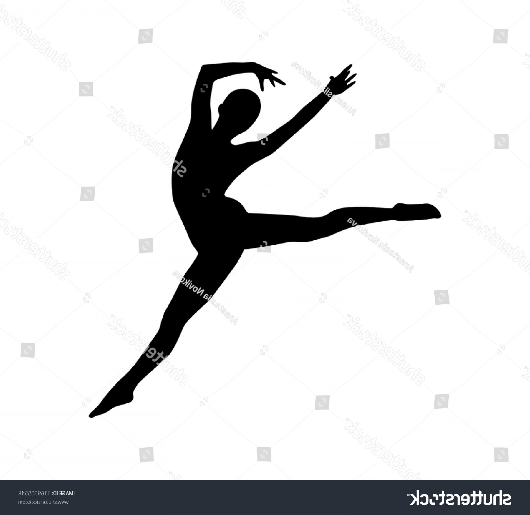 Vector Woman Gymnast Silhouette Dance Pose.