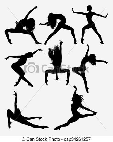 Beautiful dancer silhouette.