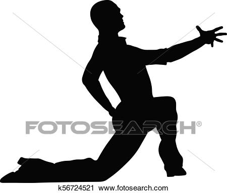 Male dancer dance pose on his knee Clipart.