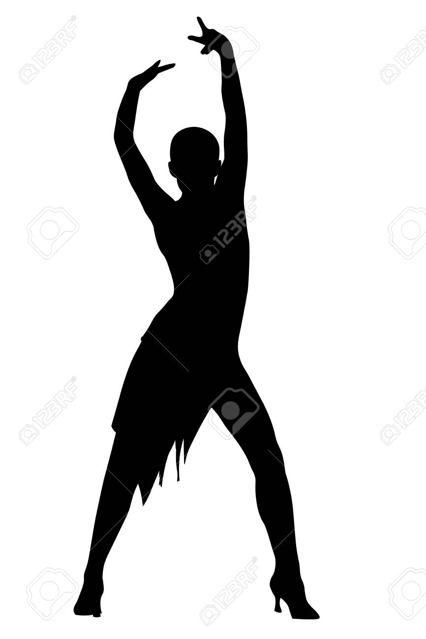 Girl latin dancer pose silhouette vector.