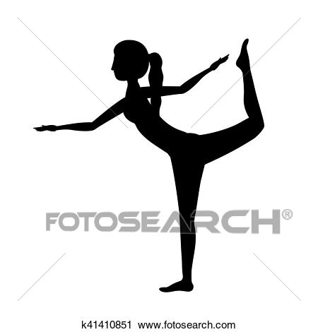 Silhouette yoga woman lord of the dance pose one Clipart.