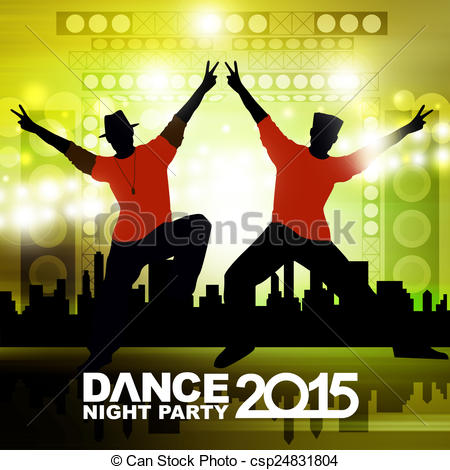 Stock Illustration of New year dance show csp24831804.