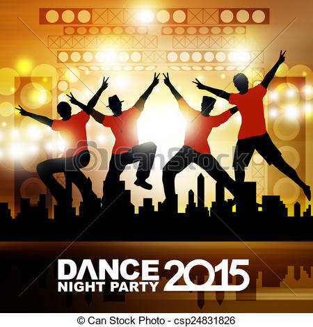 Clip Art of New year dance show csp24831826.