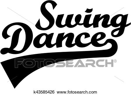 Swing dance retro word Clip Art.