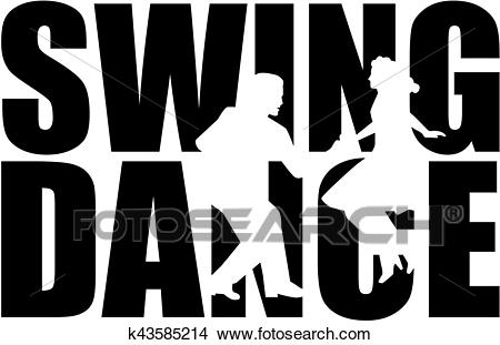 Swing dance word with couple cutout Clipart.