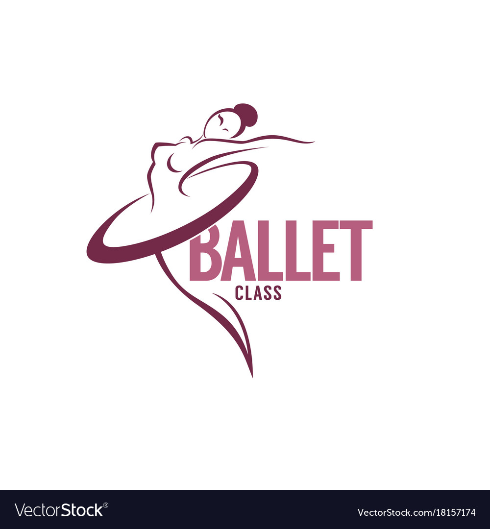Silhouette of beauty ballet dancer logo template.