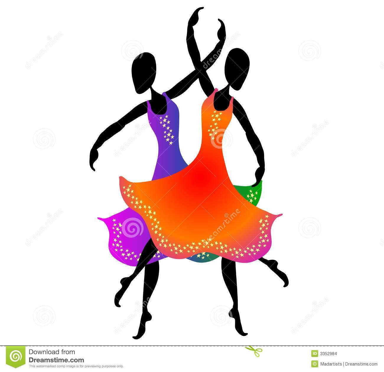 Dancers clipart in color.