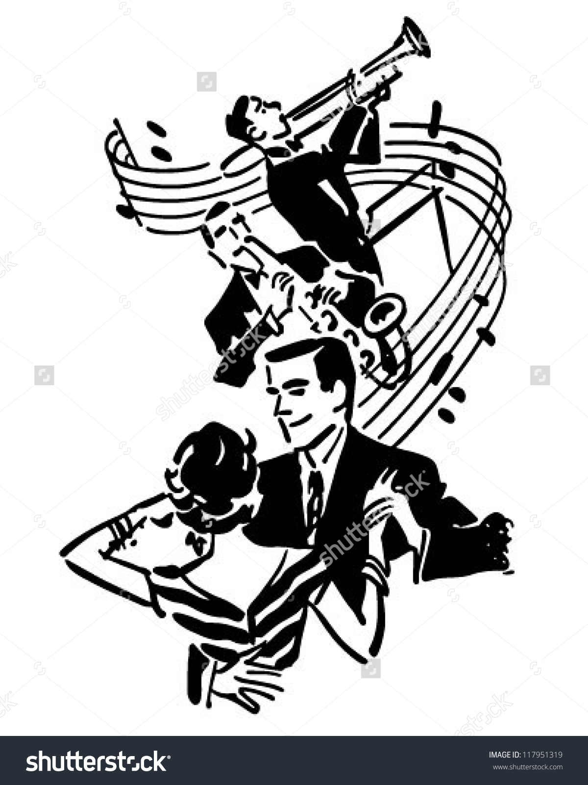 Good Music Dancing Retro Clipart Illustration Stock Vector.