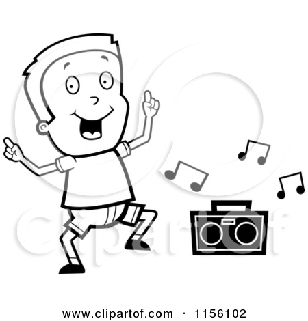 Cartoon Clipart Of A Black And White Boy Dancing to Music.