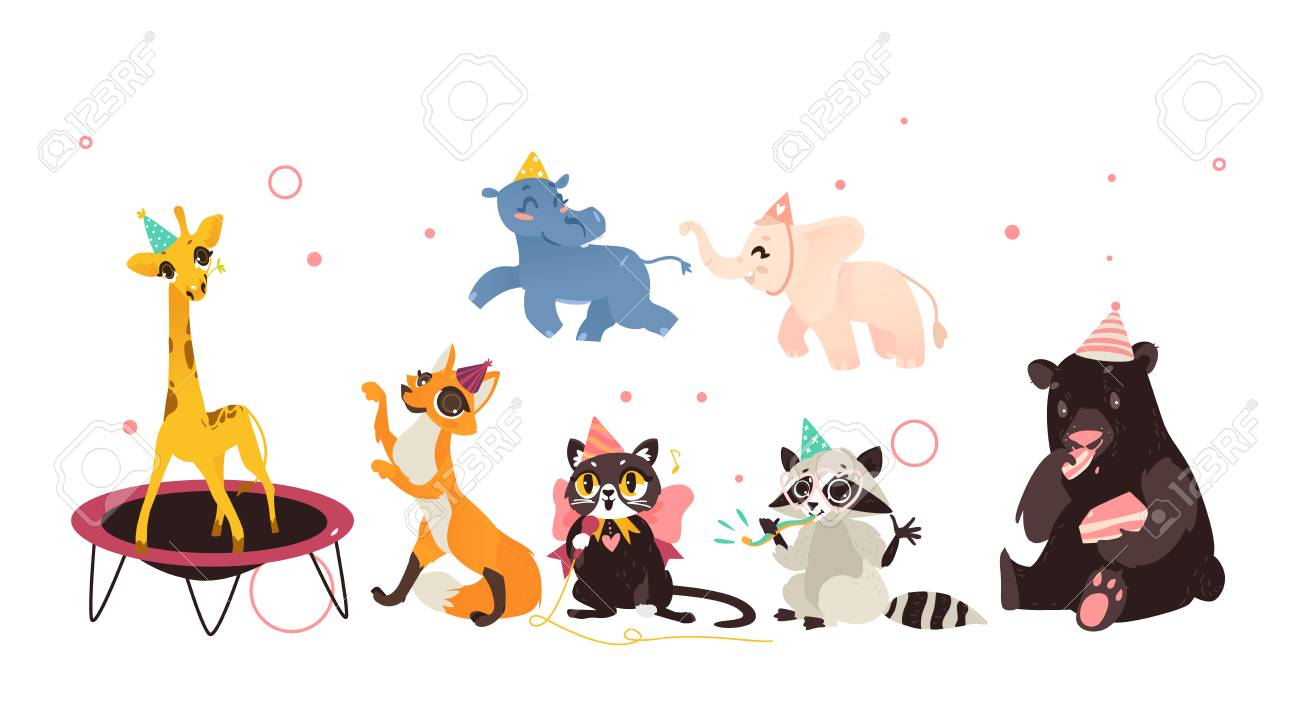 vector animals character in cartoon style, in paty hat set. Bear...