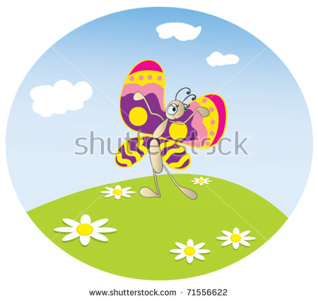 Funny Dancing Butterfly On Meadow Stock Vector 71556622.