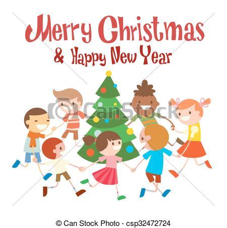 Children round dancing Christmas tree in baby club illustration.