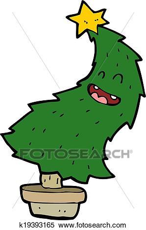 Cartoon dancing christmas tree Clipart.