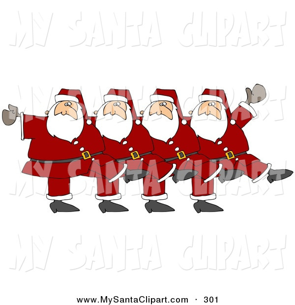 Christmas Clip Art of Five Happy Santas in Uniform, Kicking Their.