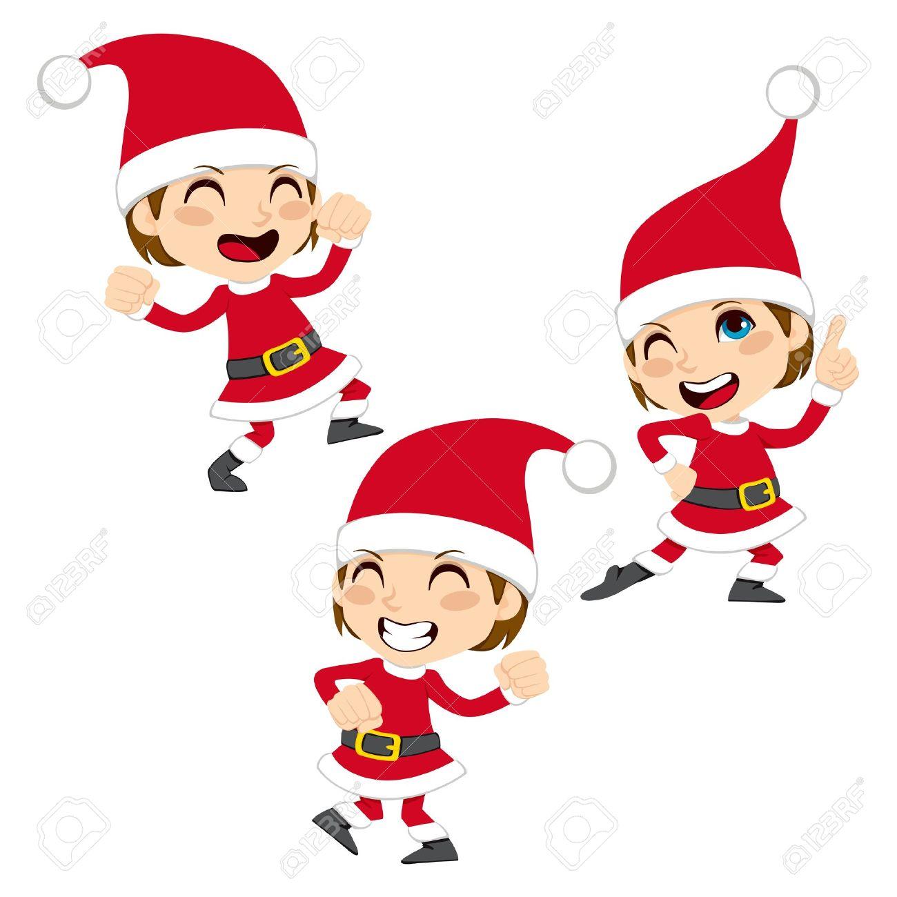 Cute little boy happy dancing Santa Claus Christmas dance.