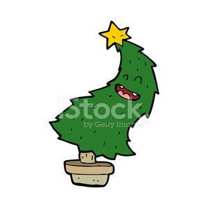 cartoon dancing christmas tree Clipart Image.