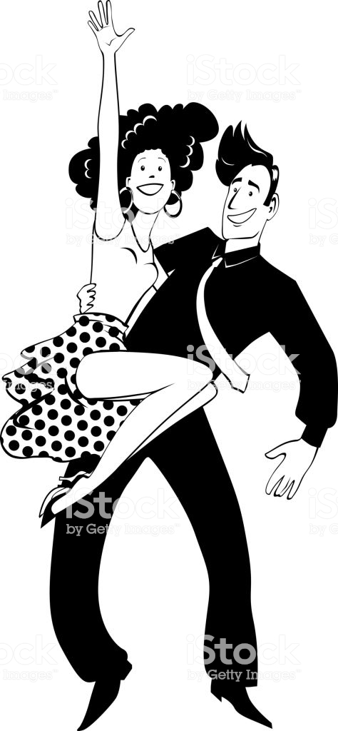 Dancing Couple Clipart Stock Illustration.