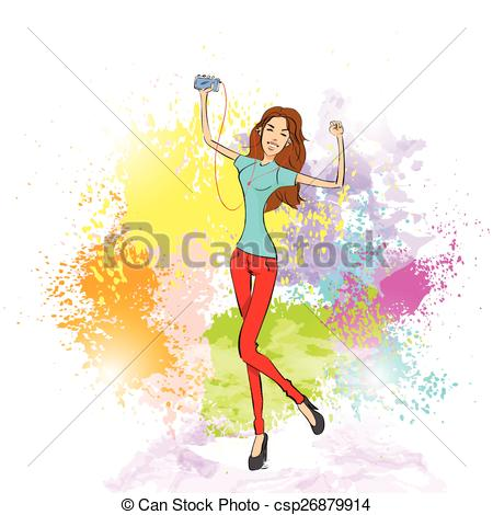Vector Clip Art of woman listen to music dance hold player casual.