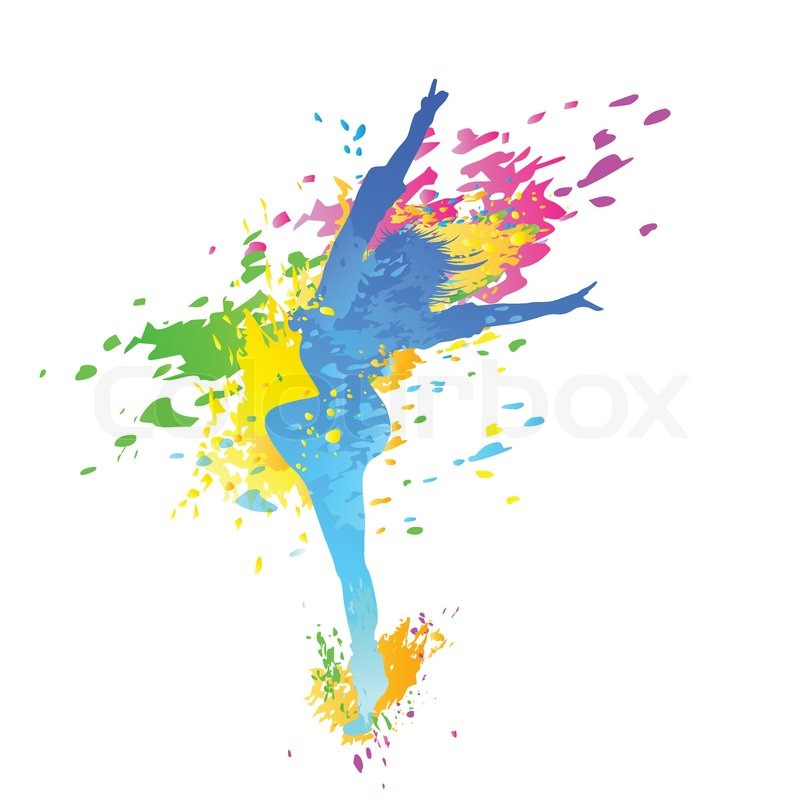 Dancing colorful girl splash paint dance on white background.