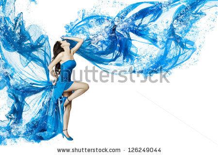 Woman Dance Blue Water Dress Dissolving Stock Photo 126249044.