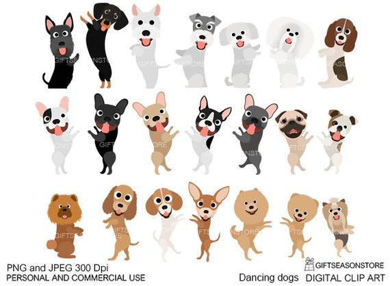 Dancing dogs digital clip art for Personal and Commercial use.