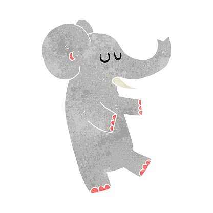 retro cartoon dancing elephant Clipart Image.