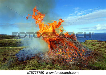 Stock Photography of Wide aerial of enormous dancing flames of.