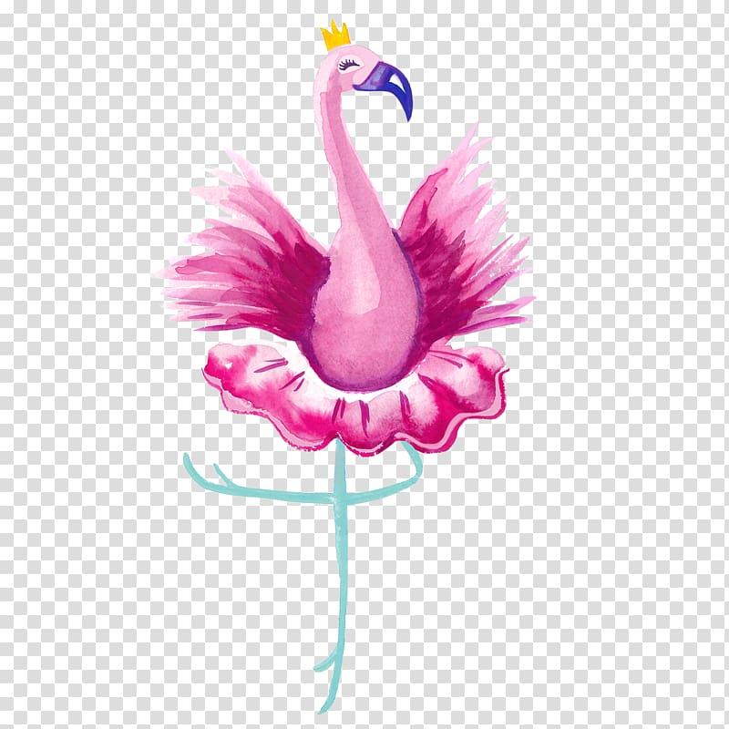 Dancing pink flamingo illustration, Vertebrate Ballet Dancer.