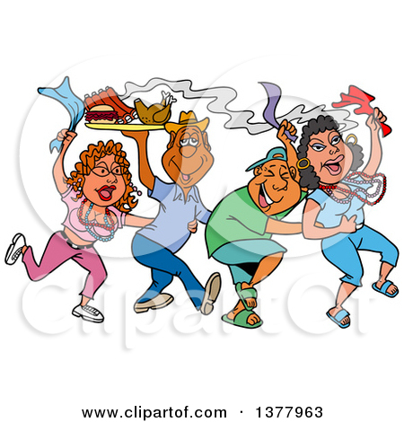 Clipart of a Dancing Line of Mardi Gras People Having a Blast and.