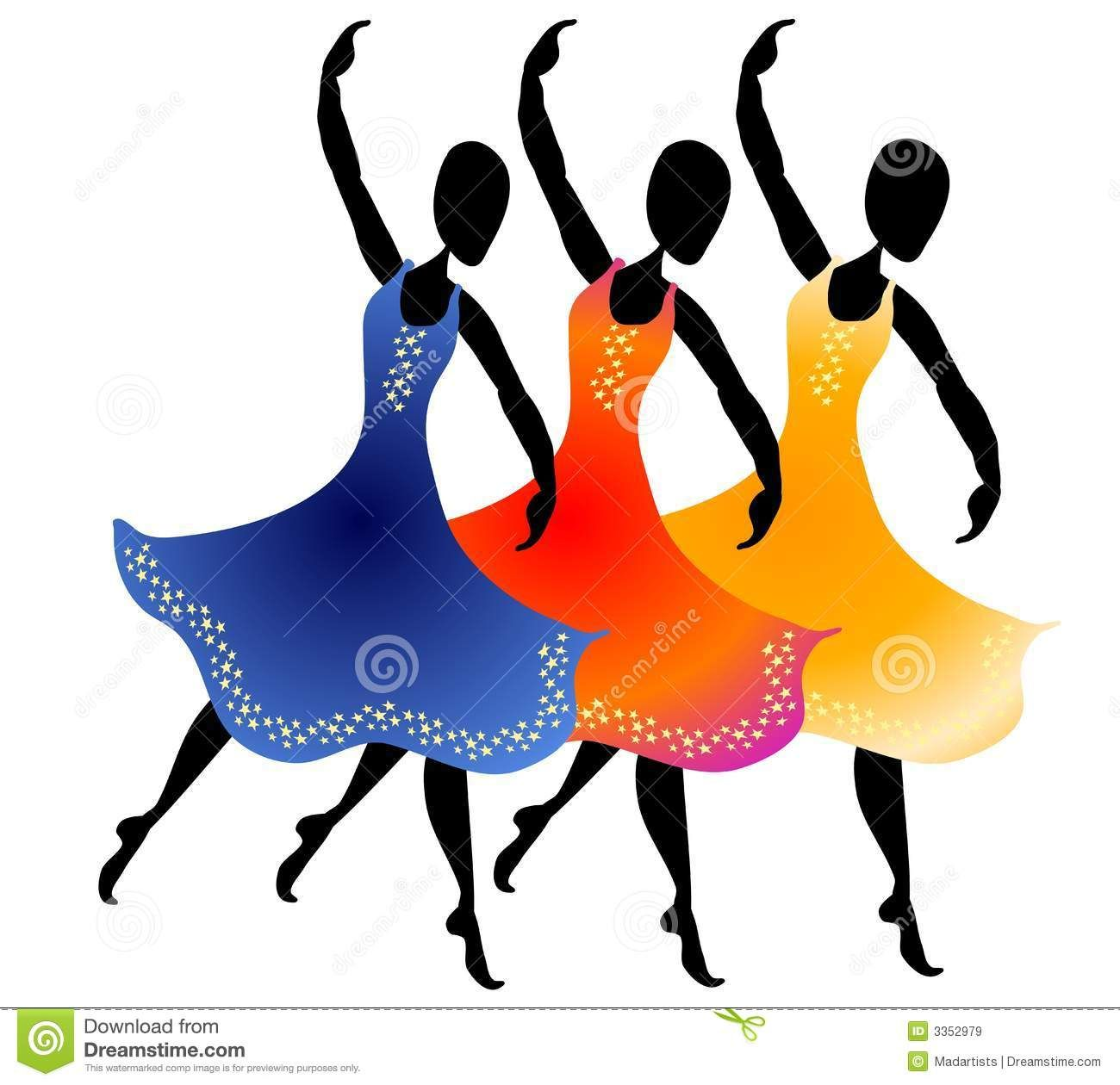 3 Women Dancing Clip Art Royalty Free Stock Images.