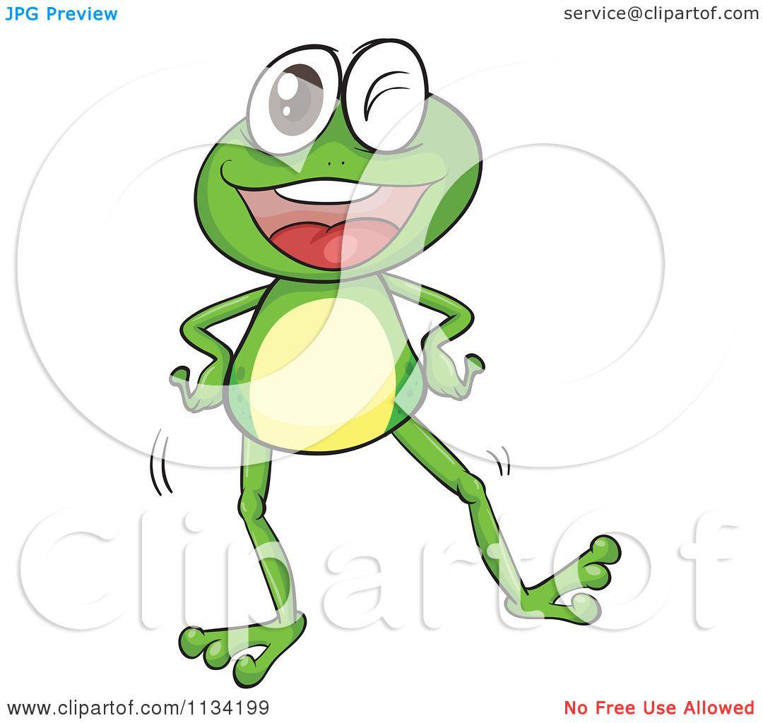 Cartoon Of A Dancing Frog.