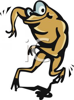 Royalty Free Clip Art Image: Cartoon of a Dancing Frog.