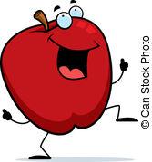 Apple cartoon celebrating dancing food fruit happy Vectors, Vector.